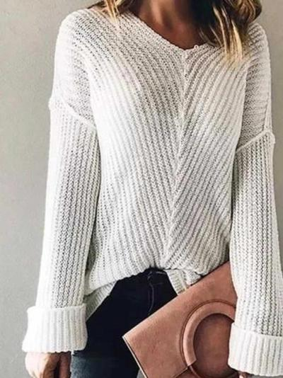 White V Neck Patchwork Casual Sweater