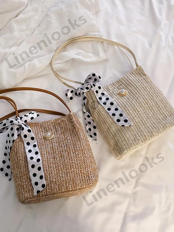 Women Hand Bag Shoulder Sling Beach Bags Crossbody Woven Polka Dot Tibbon Pearl Handbag
