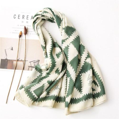 98*98cm Ladies Fashion Green Geometric Contrast Cotton Scarves Women Soft Large Square Scarf Beach Shawl