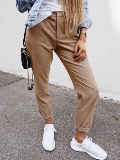 Solid Casual Cotton-Blend Pants