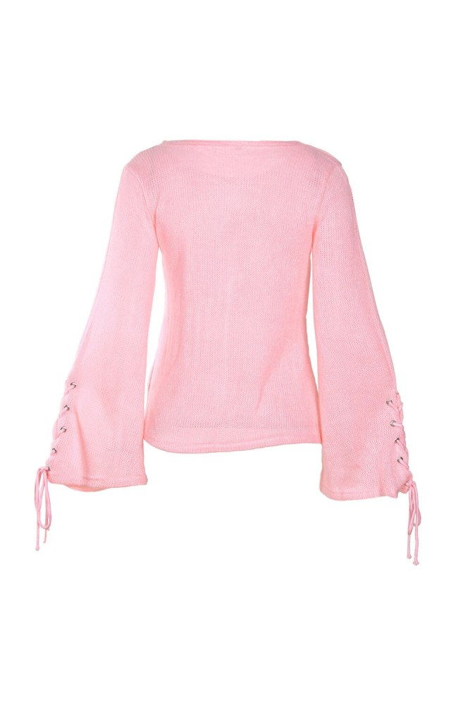 Fashion Women Knitted Sweaters Flare Sleeve Bandage Autumn Winter Round Neck Long Sleeves Tied Bow Knit Pullovers
