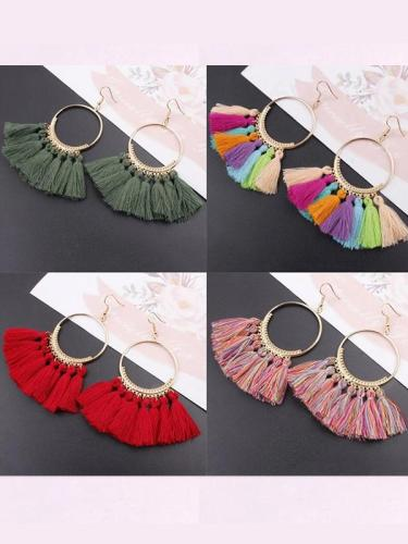 Bohemia Style Colorful Thread Tassel Pendants Big Round Hoop Earring