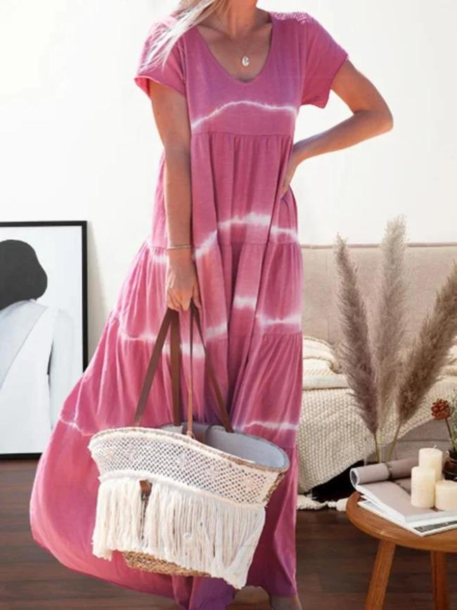 Casual Printed V-neck Short Sleeve Maxi Dress