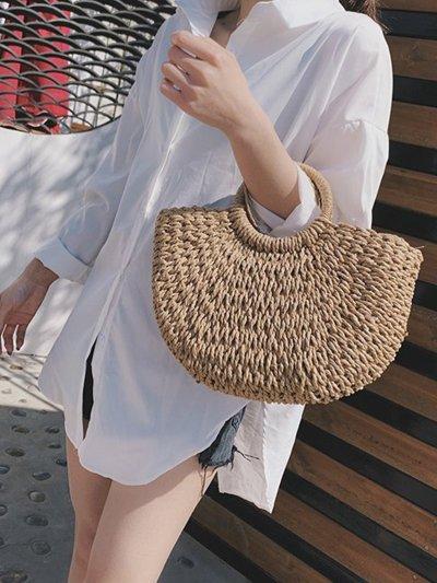 Fashion Straw Crochet Shoulder Bag