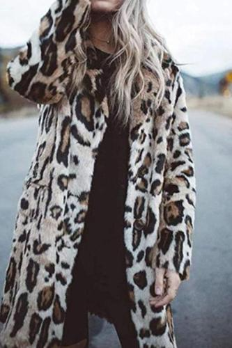 Leopard Fashion Lapel Long Sleeve Coats