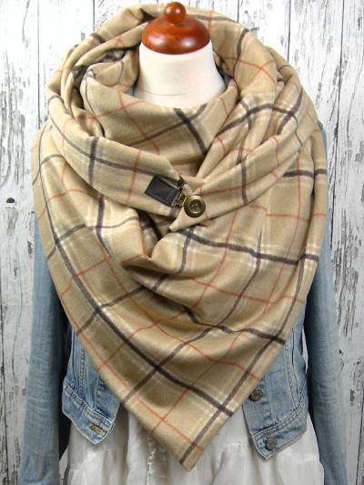 Khaki Striped Cotton Casual Printed Scarves