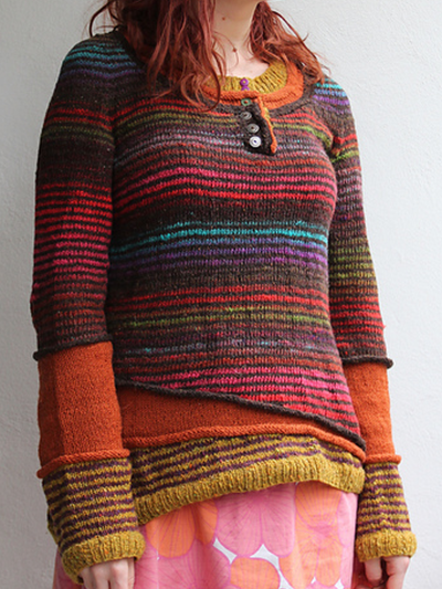 Color-Block Striped Long Sleeve Wool Blend Sweaters