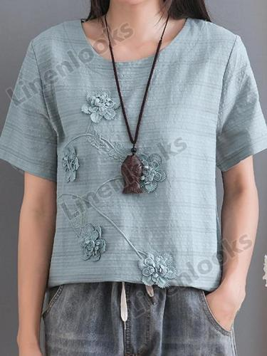 Cotton Linen Flower Embroidery Short-sleeved Round Neck Retro Loose Summer Regular Top
