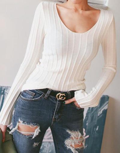 Casual Sexy Slim   Simple Pure Color Knitted Sweater Blouse