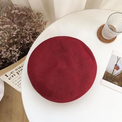 Retro Breathable Hollow Straw Beret Hat Female Summer Hat