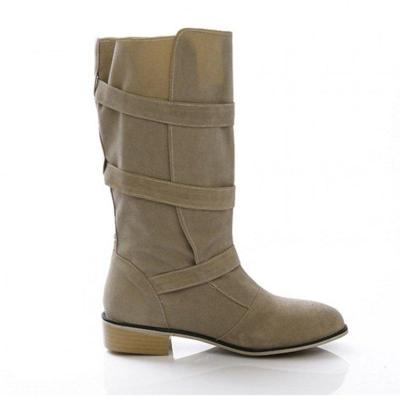 Vintage Plus Size Chunky Heel Mid-Calf Boots  With Adjustable Buckle