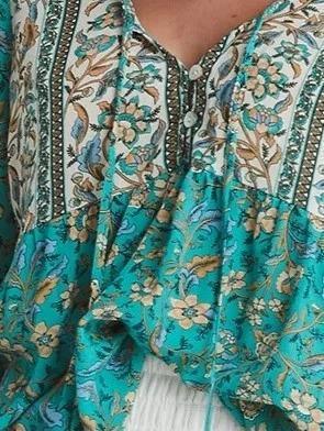 Blue V Neck 3/4 Sleeve Floral Shirts & Tops