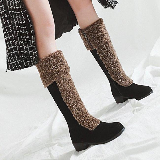 Women Zipper Casual Snow Knee Booties