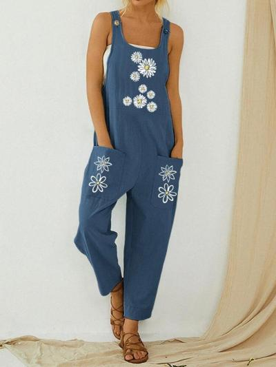 Blue Daisy Flower Printed Straps Pockets Casual Square Neck One-Pieces