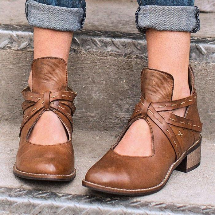 Women Artificial Leather Ankle Low Heel Boots Hollow-out Vintage Booties