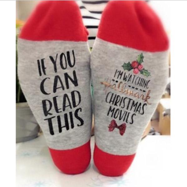 Creative Movies Soft Christmas Letters Printed Women Winter Warm Socks
