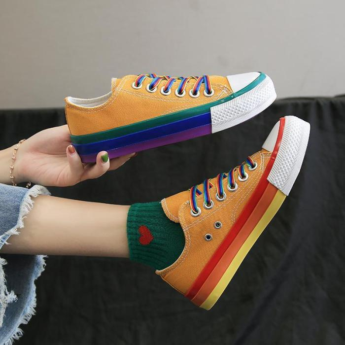 Women's Fashion Casual Personality Color Matching Canvas Sneakers