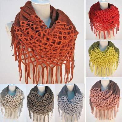 New Fashion Women Winter Warm Knit Loop Scarf Tassels Soft Shawl
