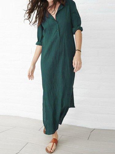 Dark Blue Casual Slit Plus Size Dress
