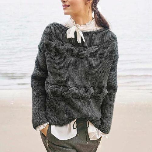 Finalpink Women's Fashion Round Neck Long Sleeve Gray Sweater