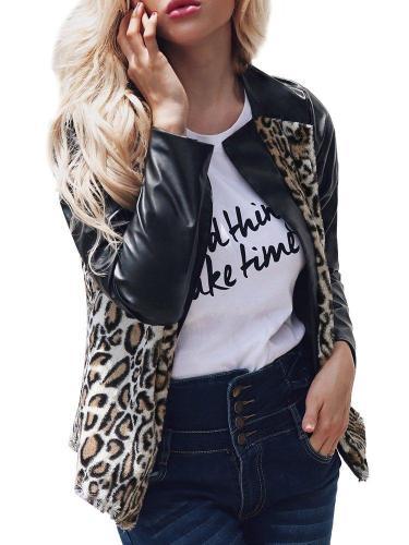 Leopard Print Patchwork V Neck Winter Long Sleeve PU Coat