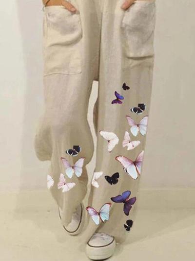 Colorful Butterflies Print Straps Casual Jumpsuit For Women