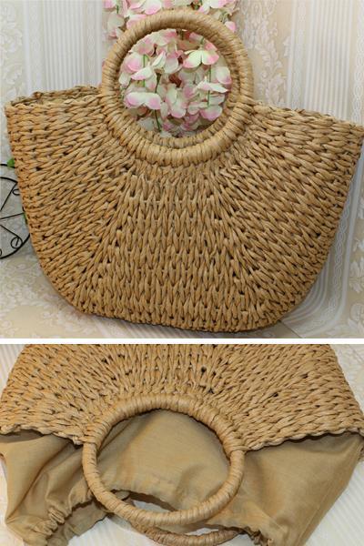 Women's Summer Beach Drawstring Woven Straw Handbag