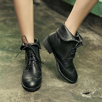 2019 Womens Low Heel Lace-Up Canvas Daily Ankle Boots
