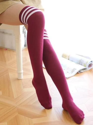 Three Striped Overknee Socks Sports Football Socks