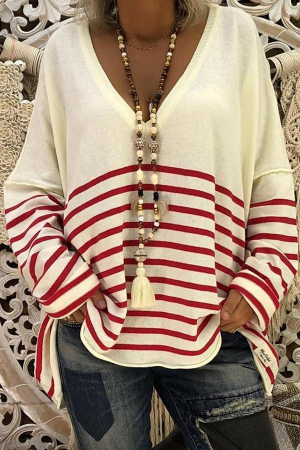 Striped Long Sleeve Casual T-shirts