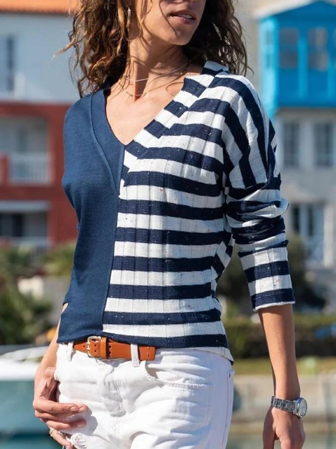 Stripe-Blue Casual Stripes Long Sleeve Shirts & Tops