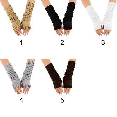 Women Winter Striped Wrist Arm Hand Warmer Knitted Long Fingerless Gloves Mitten