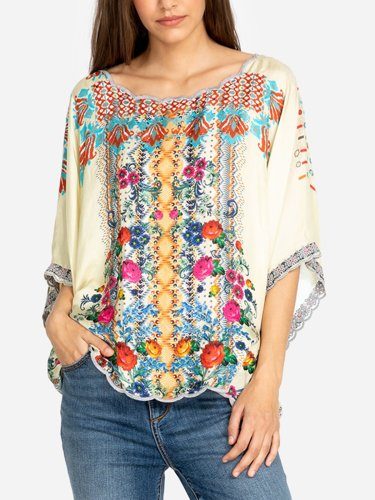Floral-Print Casual Round Neck Shirts & Tops