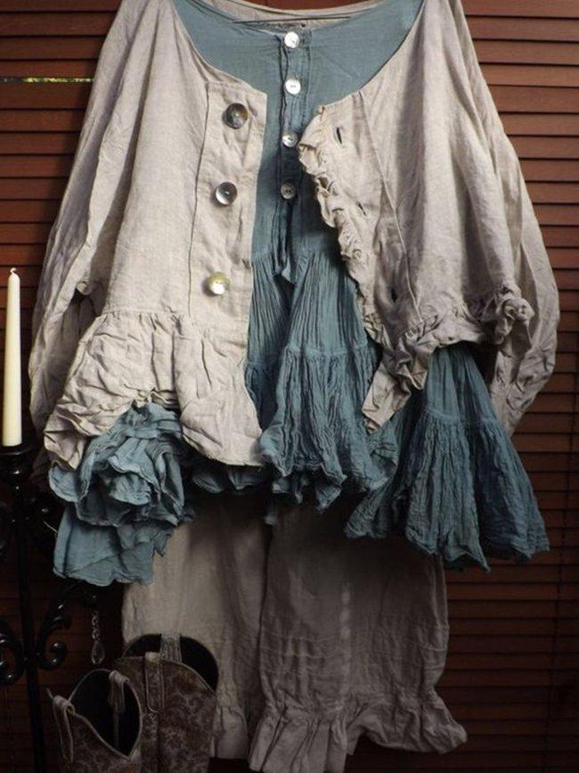 Blue Brown Crew Neck Shift Long Sleeve Linen Shirts & Tops