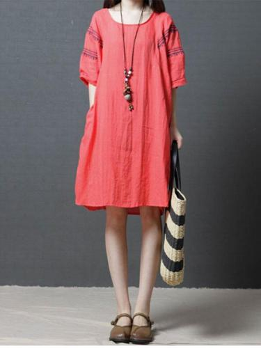 Casual Half Sleeve Linen Mini Dress