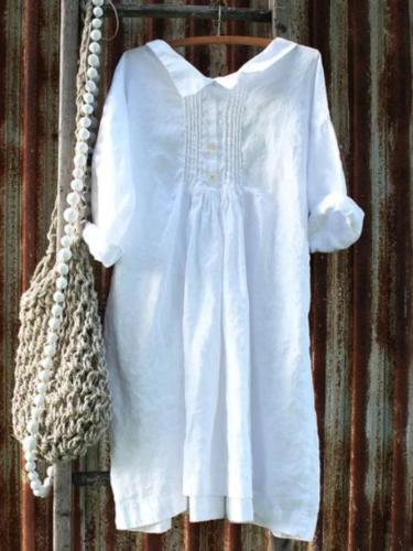 Plus size Long Sleeve Cotton Plain Dresses