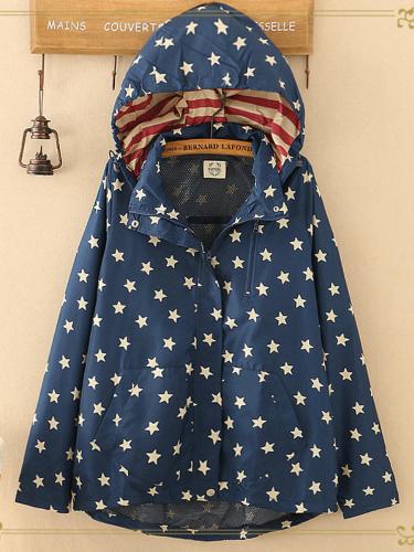 Hoodie Lapel Casual Paneled Long Sleeve Coat