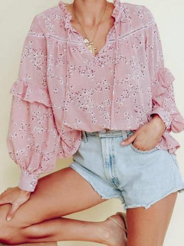 Casual Floral Lace-up Panel Ruffle Cutout Shirt
