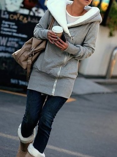Women Pockets Casual Solid Hoodie Coats Jacket