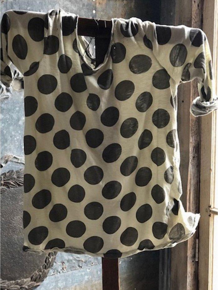 Women Casual Polka Dot Tops Tunic Blouse Shirt