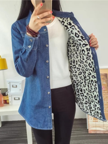 Leopard Lining Denim Shirt Collar Long Sleeve Outdoor Coat