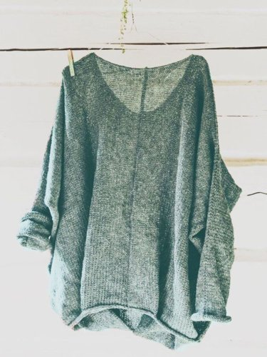 Casual Knitted Long Sleeve V neck Solid Tops