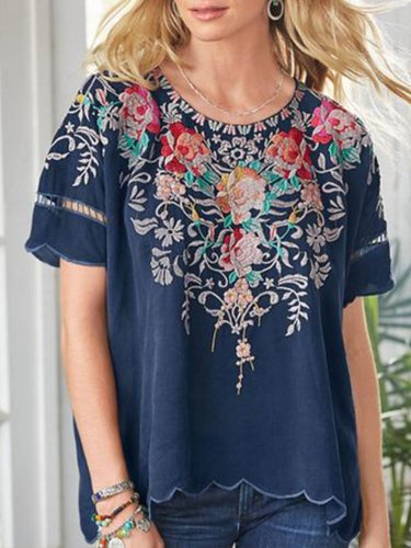 Navy Blue Short Sleeve Round Neck Patchwork Shirts & Tops