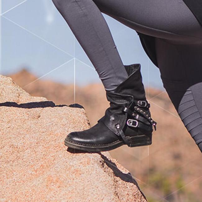 Women's casual buckle belt zipper boots