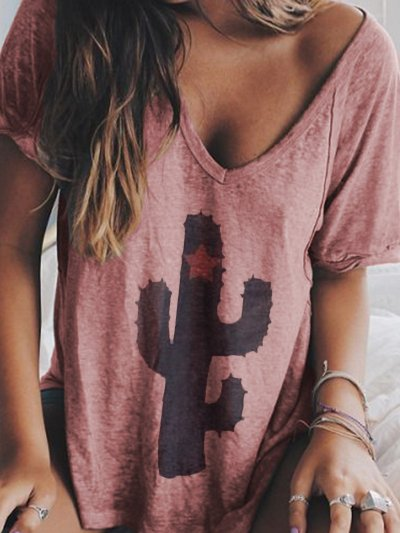 Women Summer V neck Loose T Shirt Tops