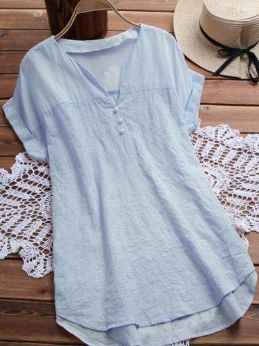 Short Sleeve V Neck Sweet Shirts & Tops