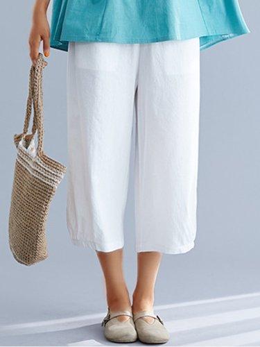 Plus Size Women Cotton Solid Plaid Loose Casual Wide Leg Pants