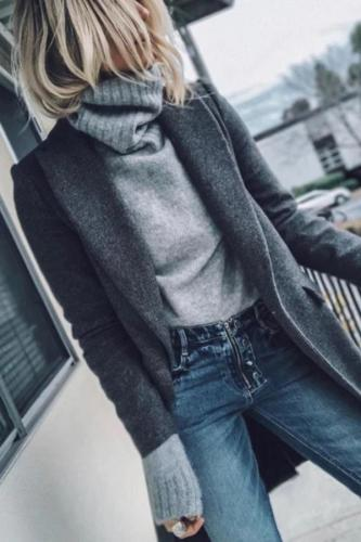 Minimalist Solid Color Autumn And Winter Long Cardigan Coat