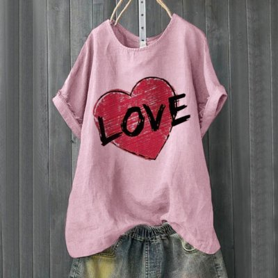 Fashion Blouse Loose Plus Size Casual Heart Letter Printed O-Nock Short Sleeve Shirts Tops