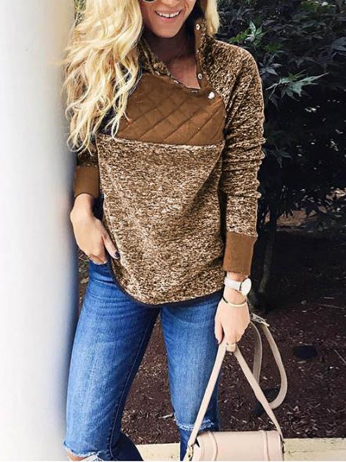 Casual Long Sleeve Stand Collar Sweater